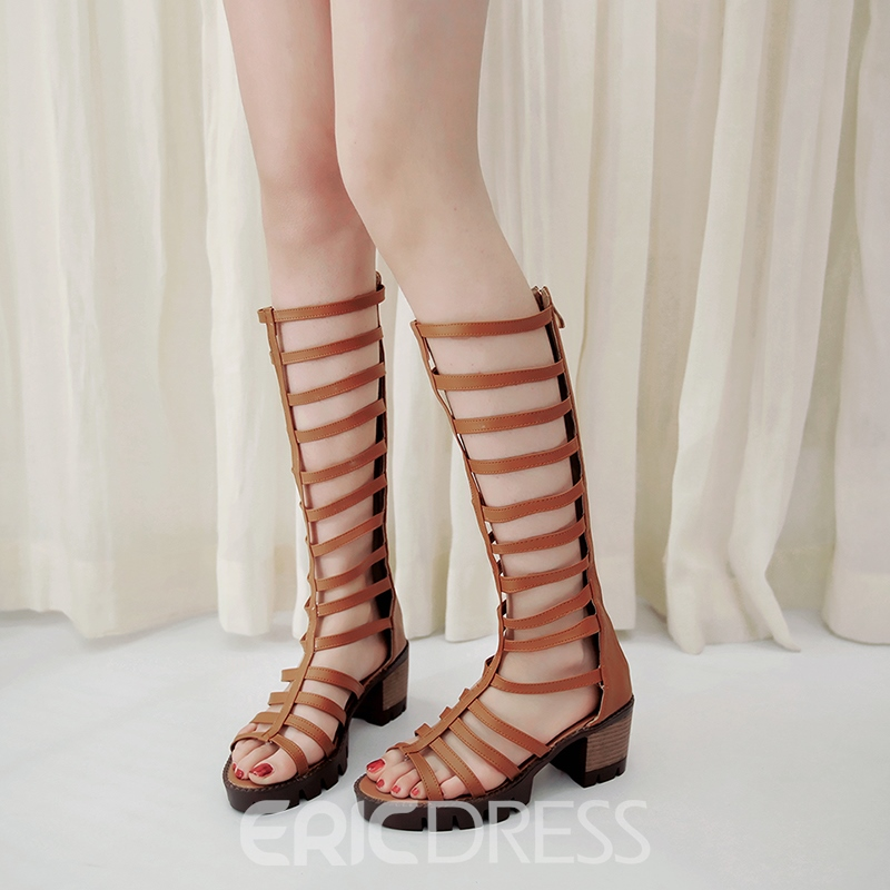 Ericdress Cut Out Knee High Chunky Sandals