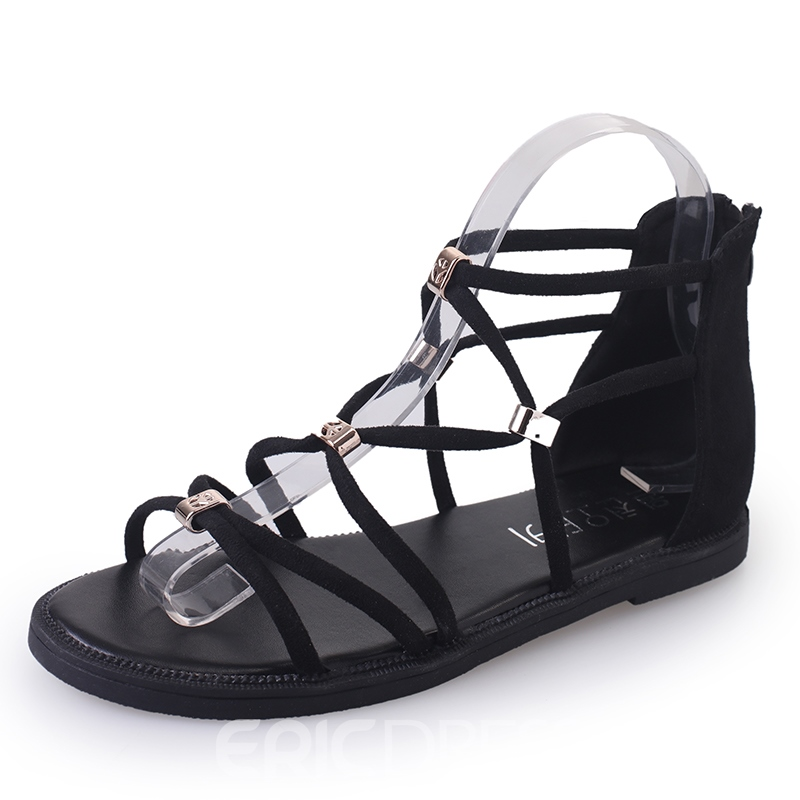Ericdress Roman Cross Strap Cut Out Flat Sandals