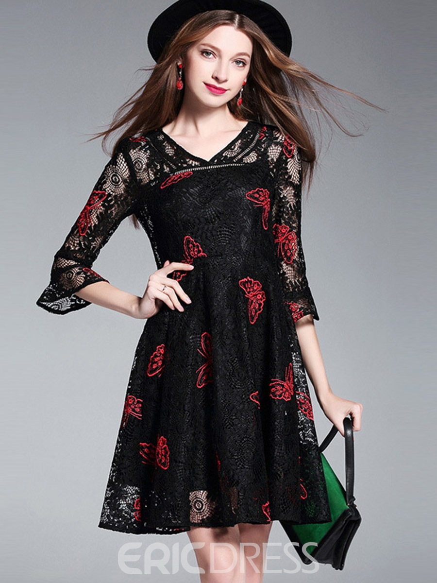 Ericdress Color Block V-Neck Embroidery Patchwork Lace Dress