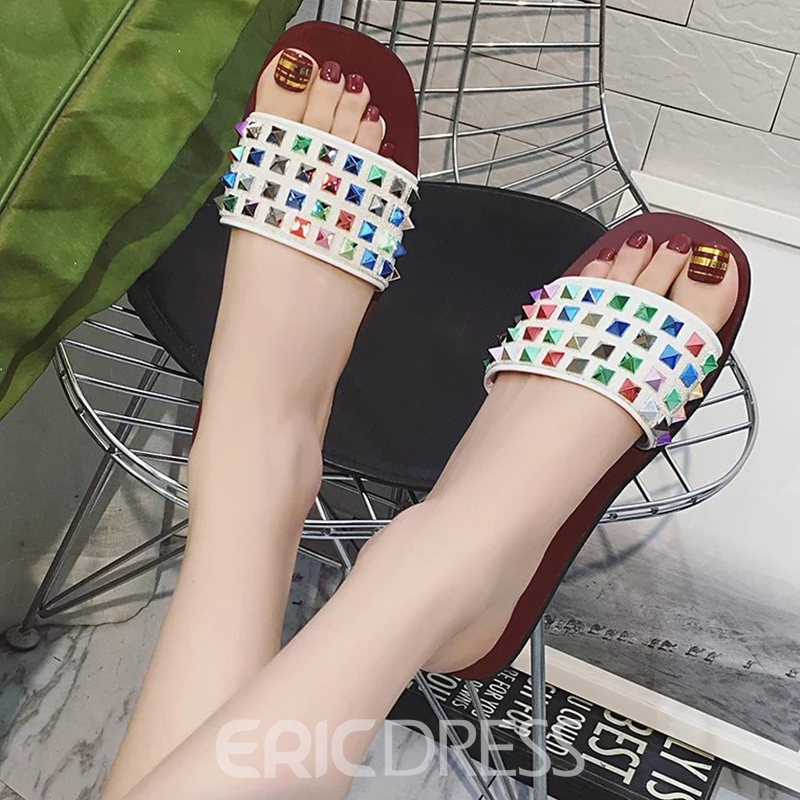 Ericdress Sweet Colorful Rhinestone Mules Shoes
