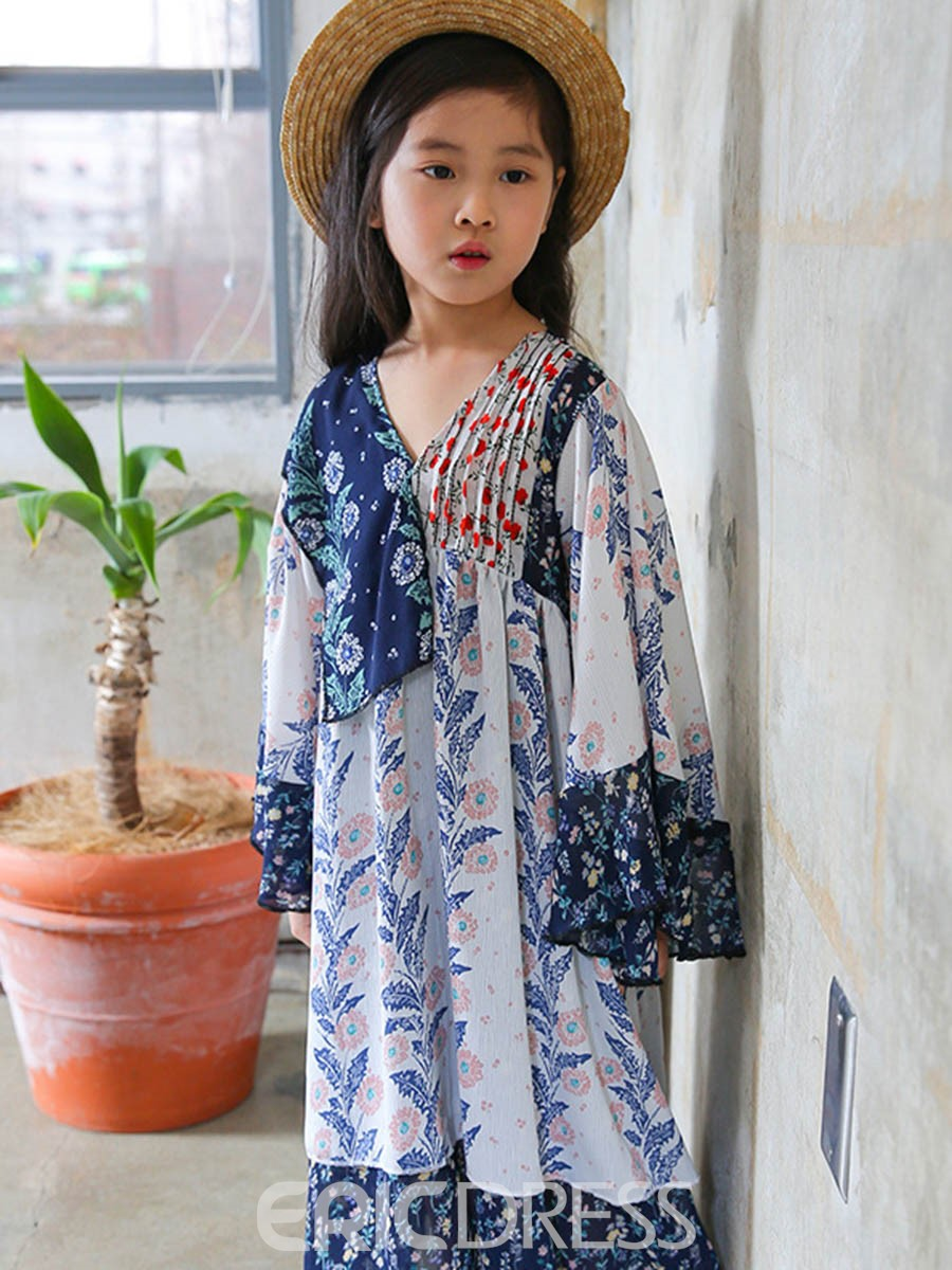 Ericdress Japanese Vintage Floral Flare Sleeve Dress