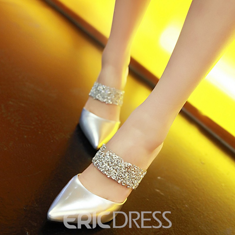 Ericdress Chic Patchwork Point Toe Mules Shoes