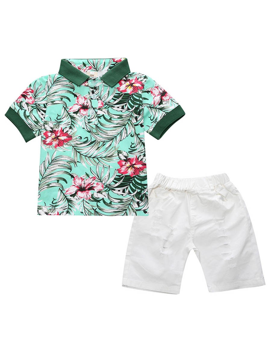 Ericdress Floral Shirt & Shorts Boys Outfit