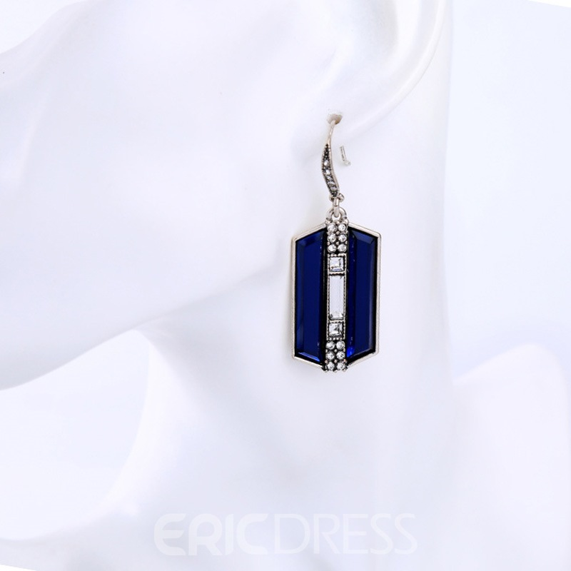 Ericdress Blue Geometry Gemstone Design E-Plating Earrings