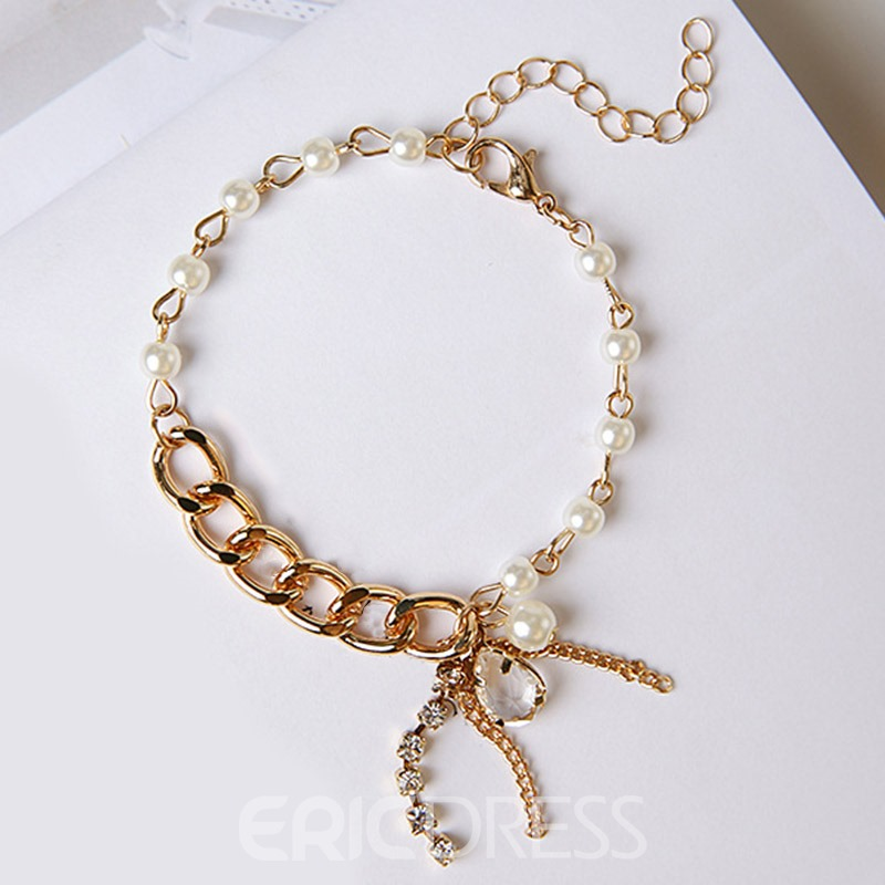 Ericdress Golden Chain Diamante White Beading Bracelet