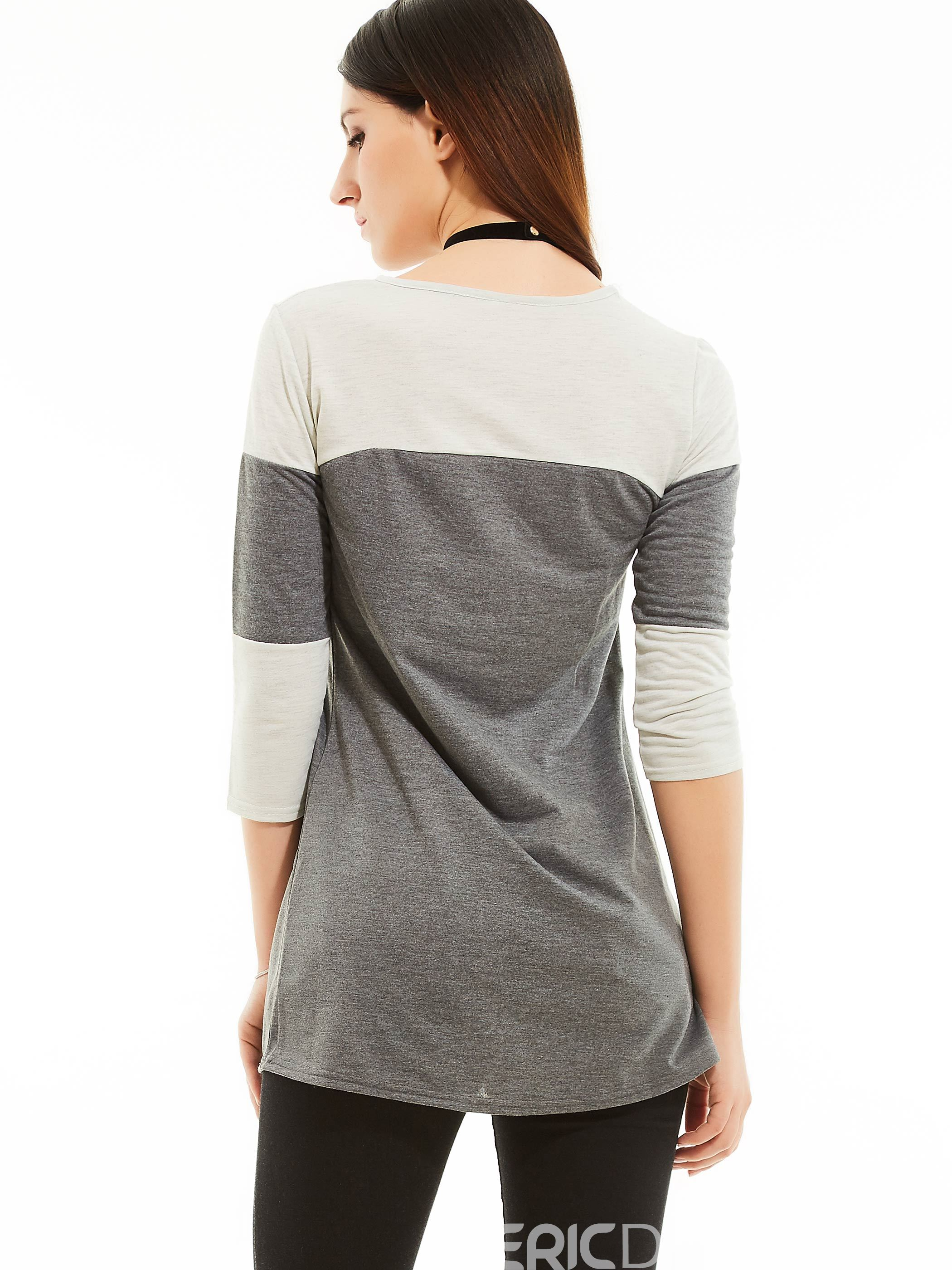 Ericdress Round Neck Color Block T-shirt
