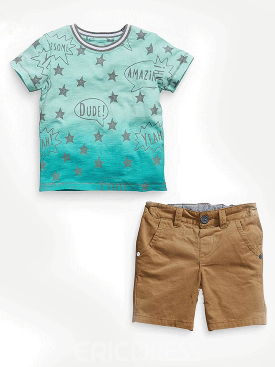 Ericdress Gradient T-Shirt Shorts 2-Pcs Boys Outfit
