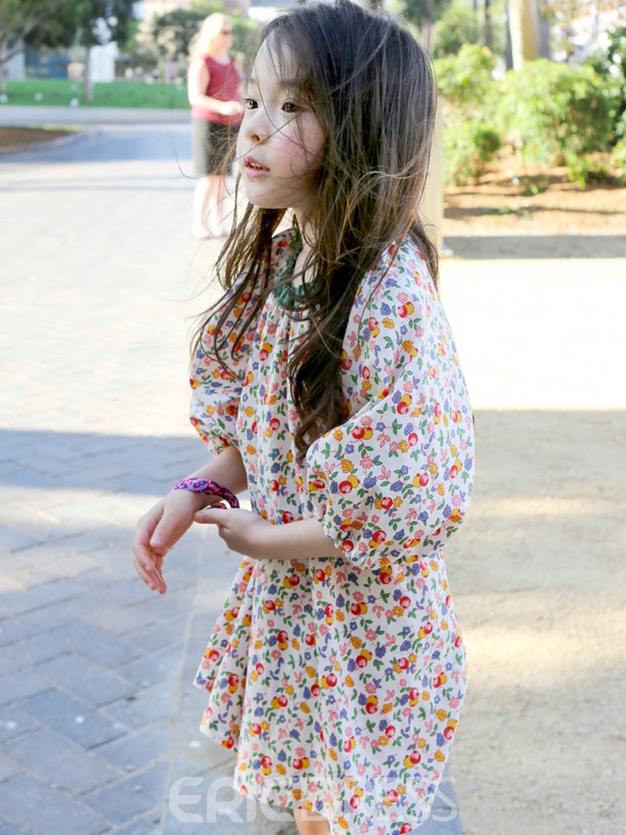 Ericdress FloralPleated Raglan Sleeve Dress