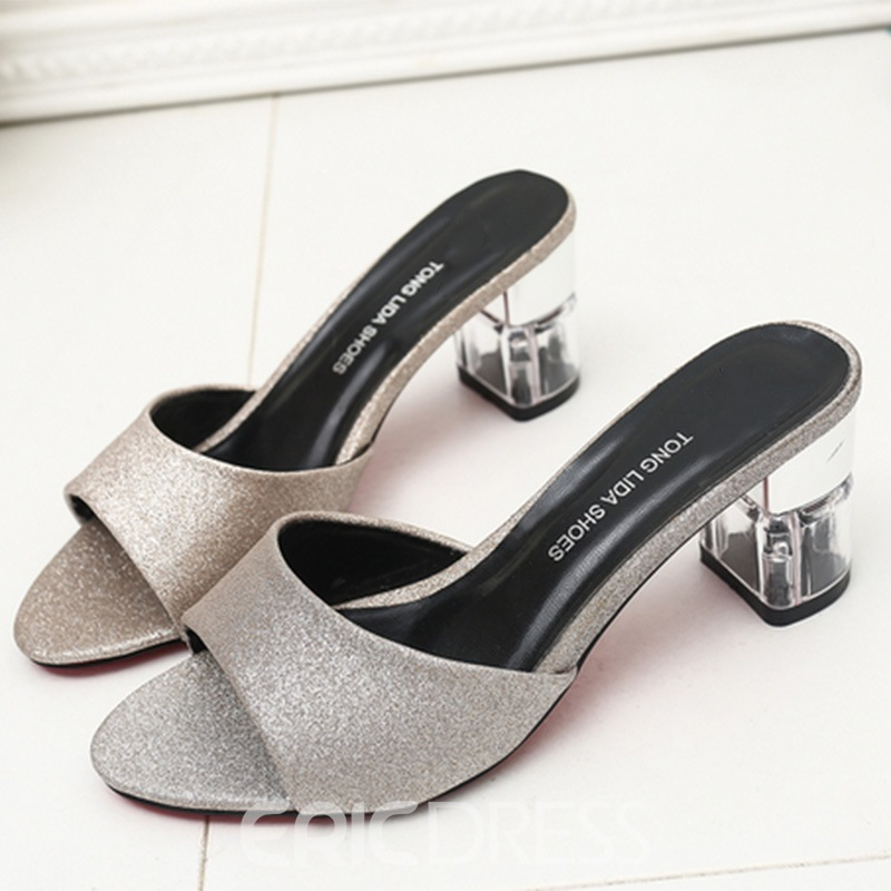 Ericdress Sequins Peep Toe Block Heel Mules Shoes