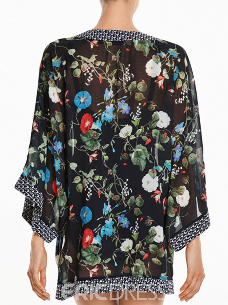 Ericdress Beautiful Flower Print Beach Cover Ups