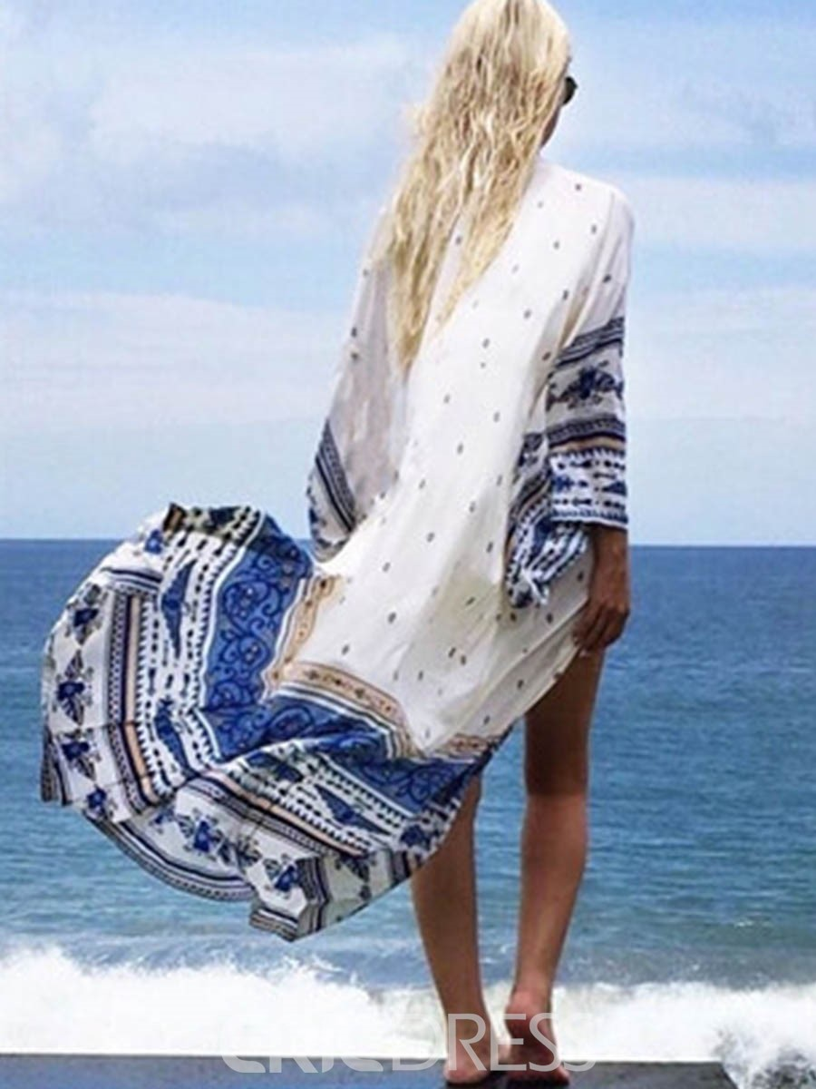 Ericdress Vogue Floral Geometric Long Beach Cover Ups