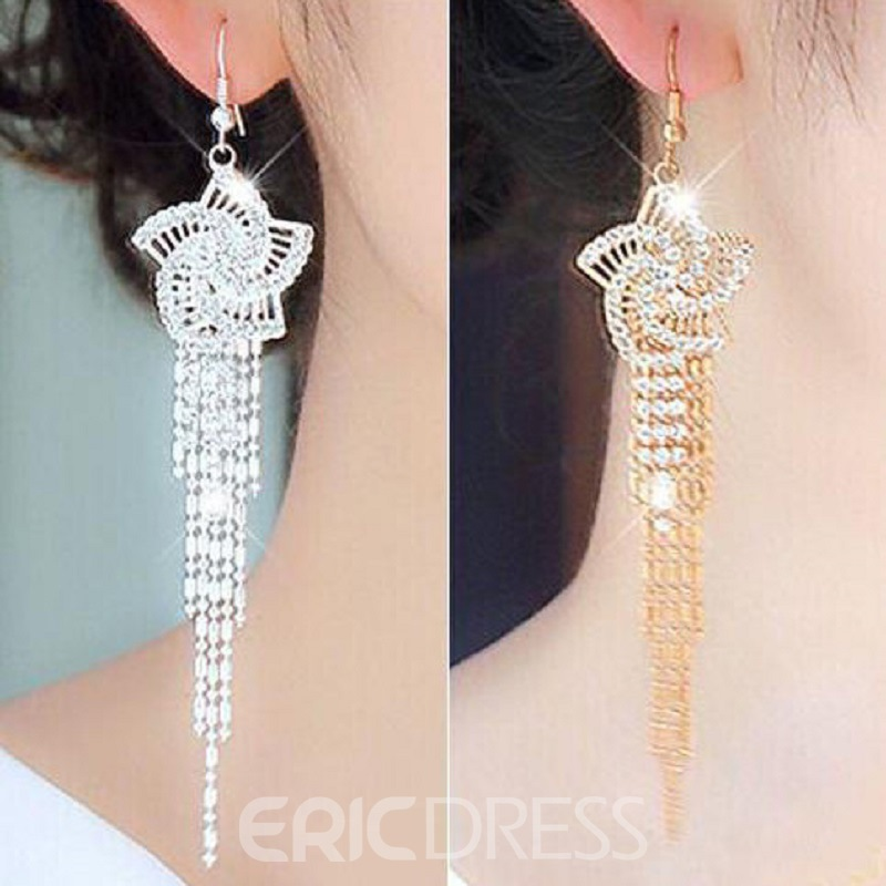 Elegant Flower Shaped and Tassel Decorated Earrings