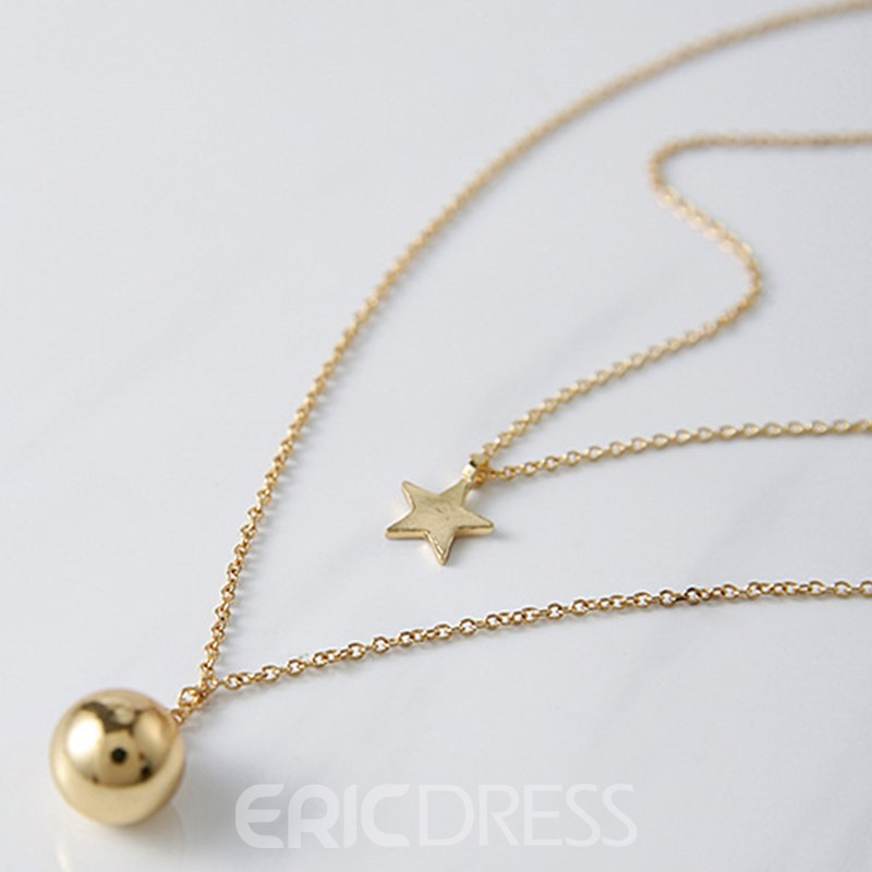 Ericdress Metal Star & Ball Design Double Layers Necklace