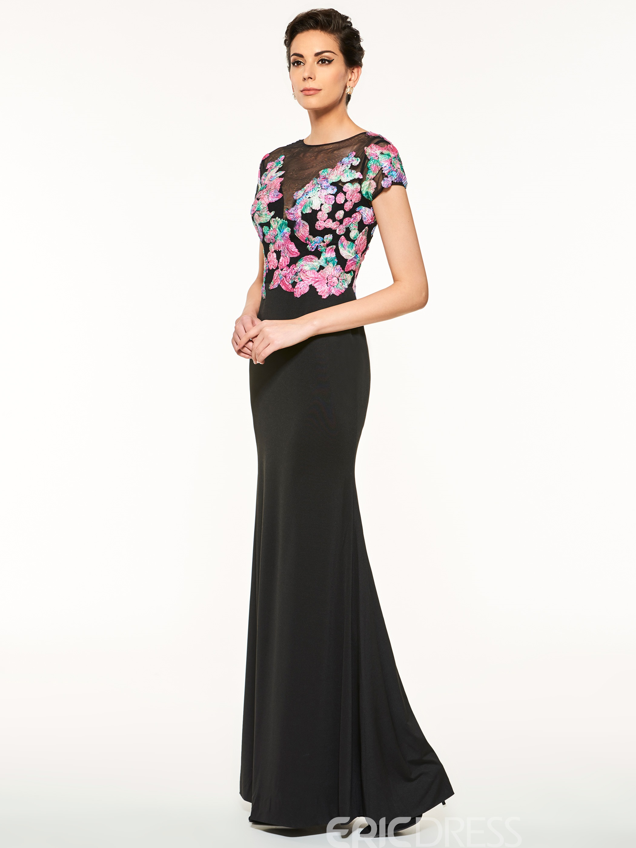 Ericdress Beautiful Appliques Short Sleeves Sheath Long Mother Of The Bride Dress