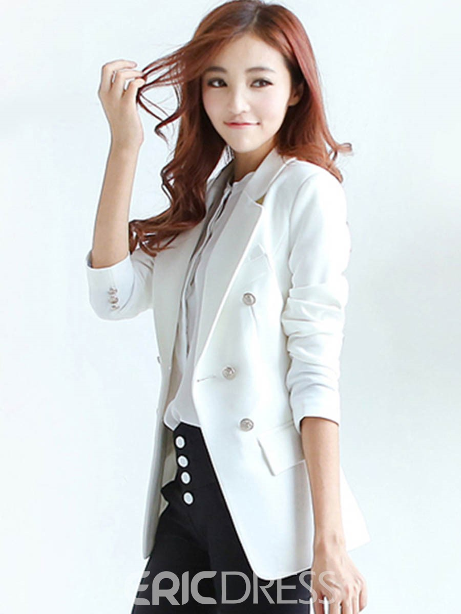 Ericdress Slim Solid Color Double-Breasted Blazer