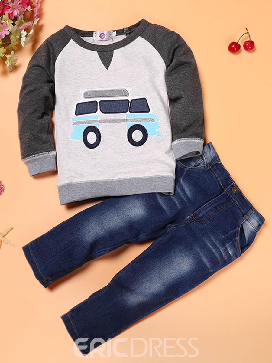 Ericdress Cartoon Hoodie Pants 2-Pcs Boys Suit