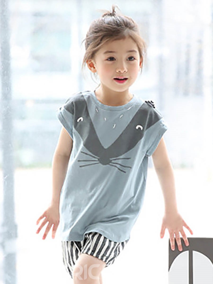 Ericdress Cartoon T-Shirt Shorts 2-Pcs Girls Outfit