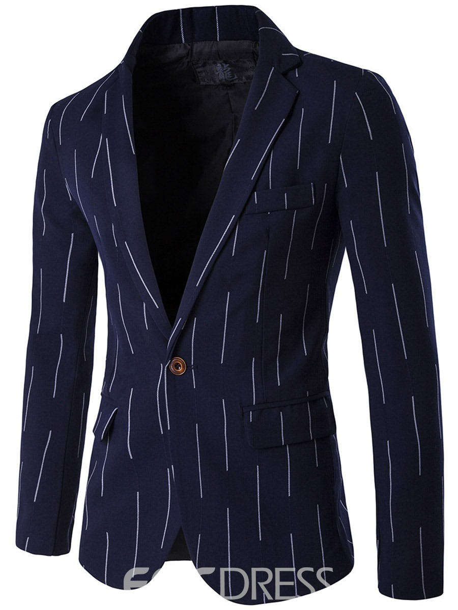 Ericdress Stripe Print Notched Lapel Vogue Slim Men's Blazer