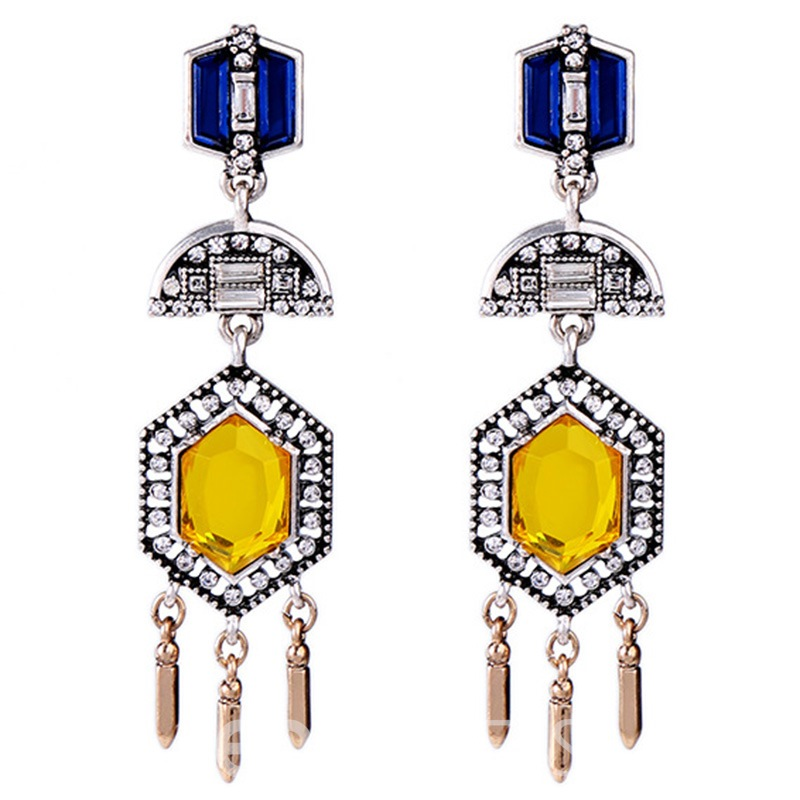 Ericdress Alloy Tassels Yellow Artificial Gemstone Inlaid Earrings