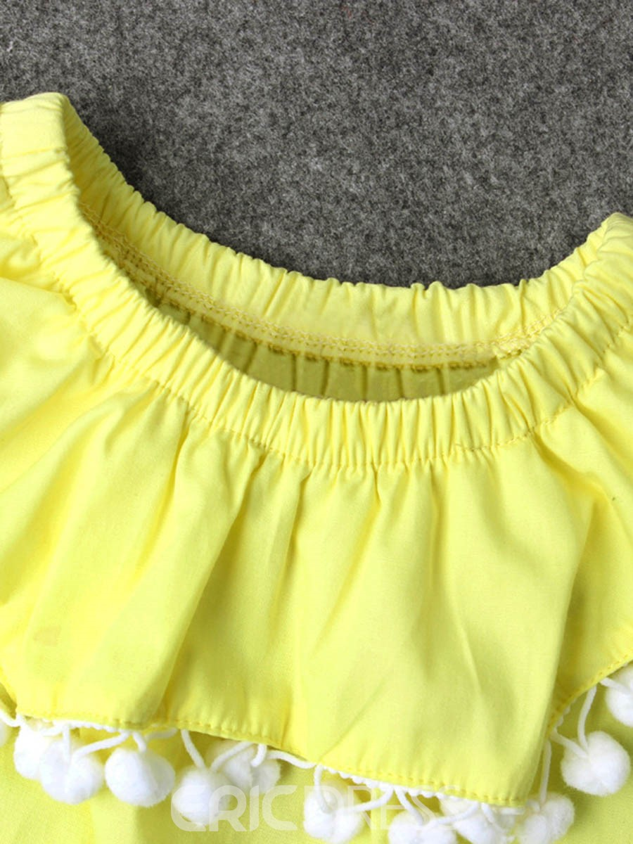 Ericdress Plain Ruffled Collar Baby Girls Bodysuit