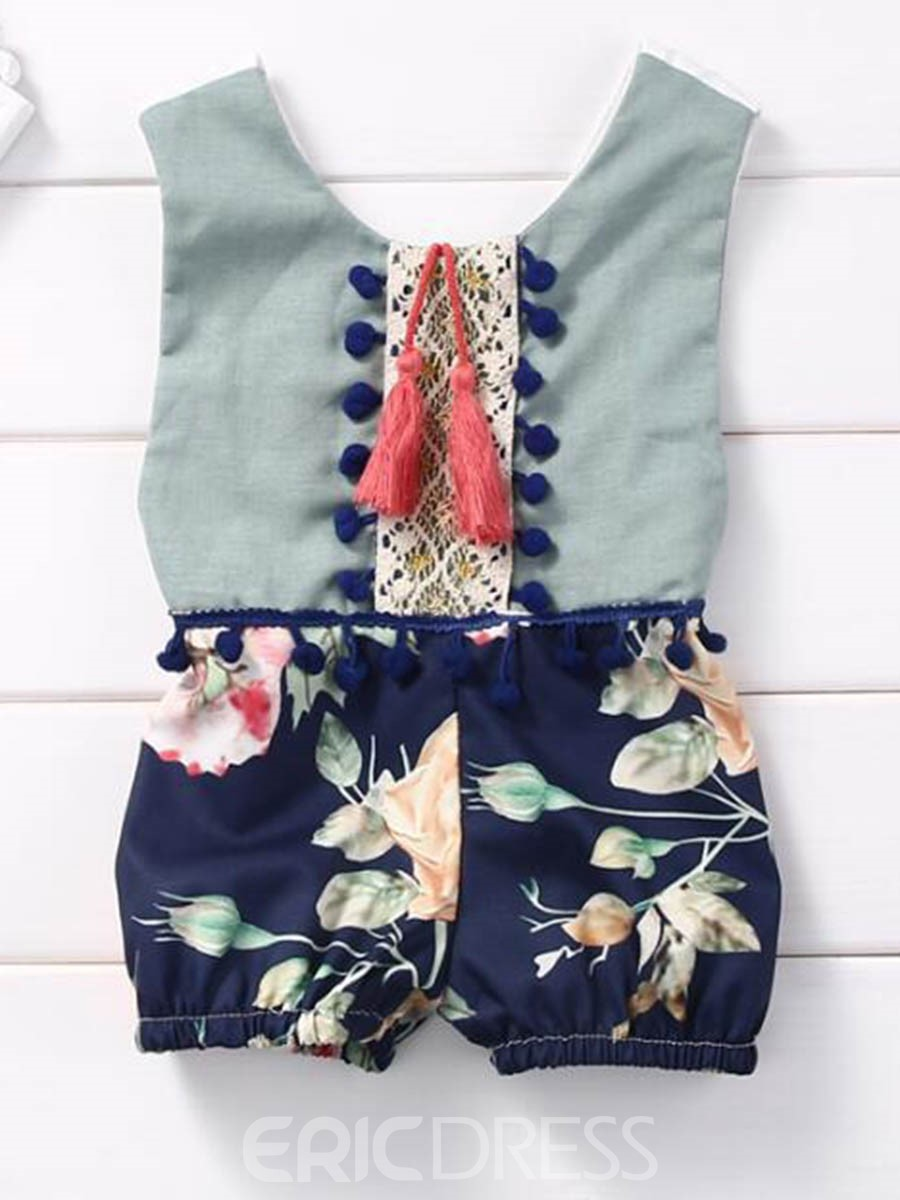 Ericdress Tassel Floral Baby Girls Short Rompers