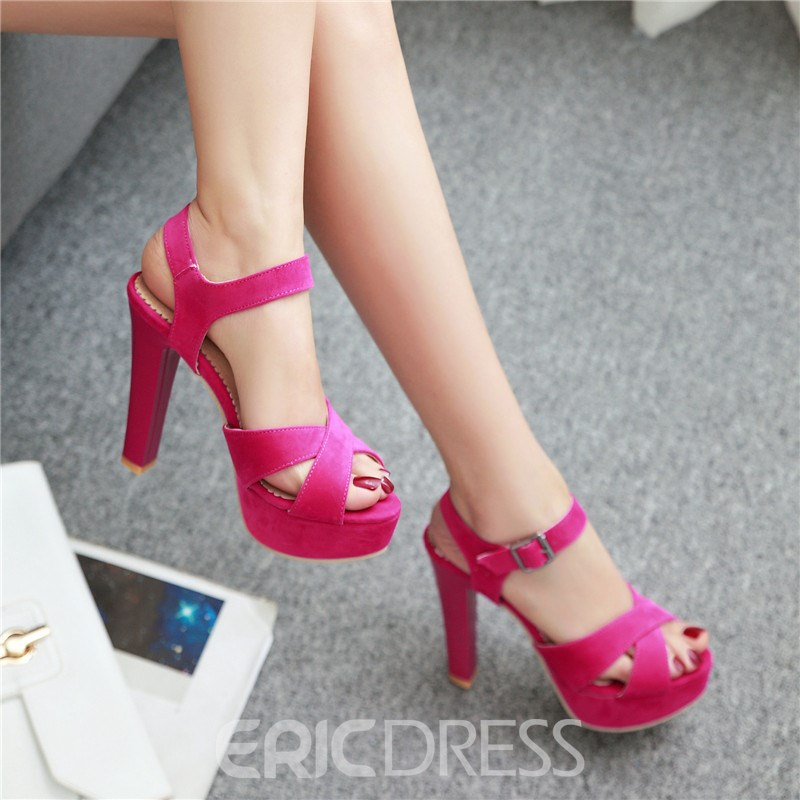 Ericdress Pretty Cross Band Platform Chunky Sandals