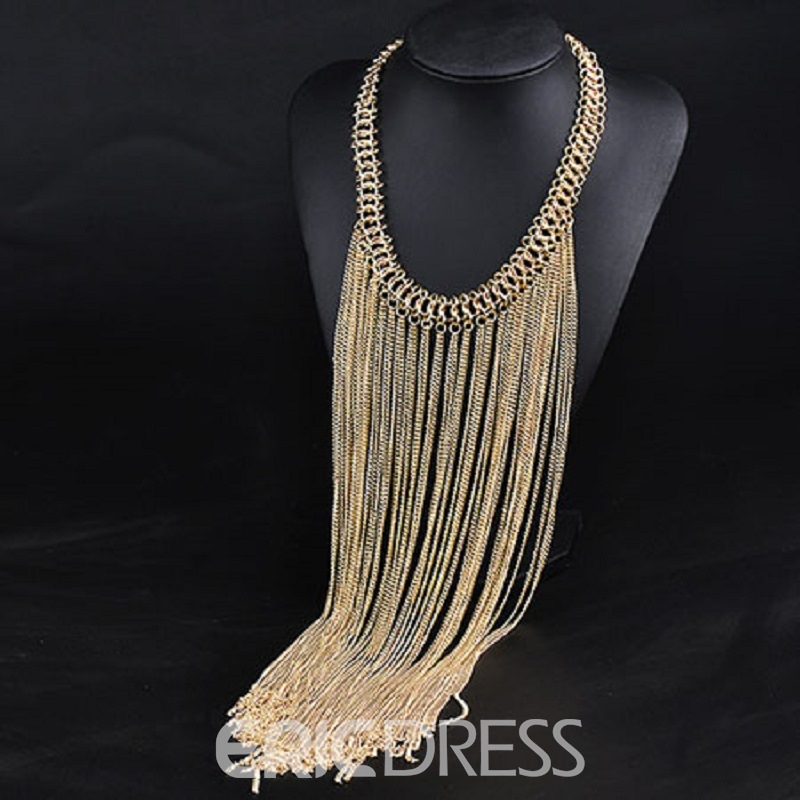 Ericdress America Stylish Tassel Rope-like Chain Necklace