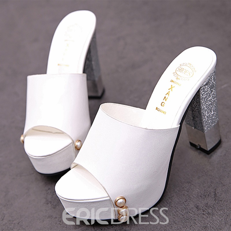 Ericdress Delicate Peep Toe Platform Mules Shoes