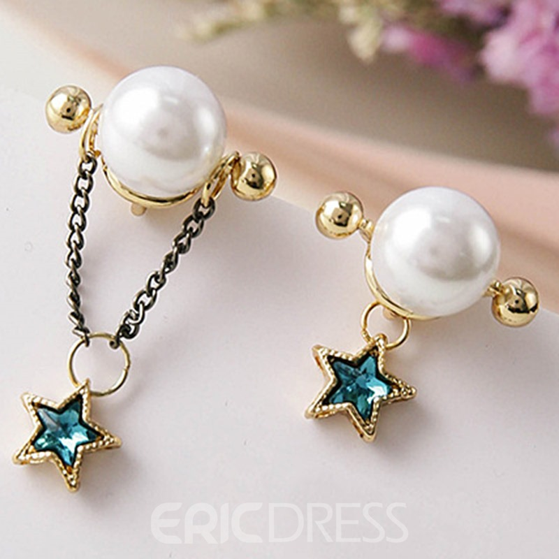 Ericdress Asymmetric Rhinestone Star with Pearl Earrings