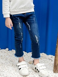 Ericdress Denim Worn Hole Skinny Ankle Length Girls Jeans 12777963