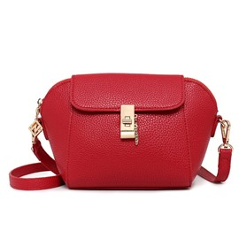 Ericdress Solid Color Shell Shape Lock Crossbody Bag