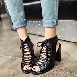 Ericdress PU Lace Up Backless Chunky Sandals