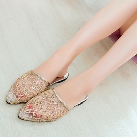 Ericdress Lace Sequins Point Toe Mules Shoes