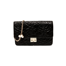 Ericdress Embossing Bold Lines Ling Chain Shoulder Bag