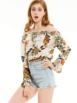 Ericdress Slim Slash Neck Plant Print Blouse