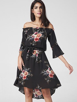 Ericdress Floral Print Slash Neck High-Low A Line Dress