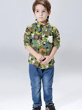 Ericdress Print Lapel Shirt Full Length Pants Boys Suit