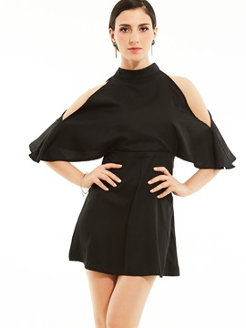 Ericdress Stand Collar Batwing Sleeve Backless A-Line Dress
