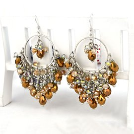 Ericdress 925 Silver Yellow Gems Baroque Pendant Earrings