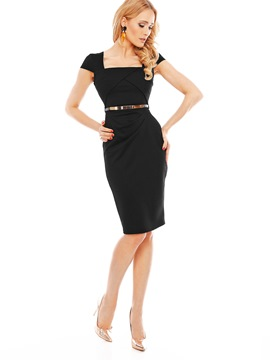 Ericdress OL Plain Short Sleeve Mid-Calf Bodycon Dress