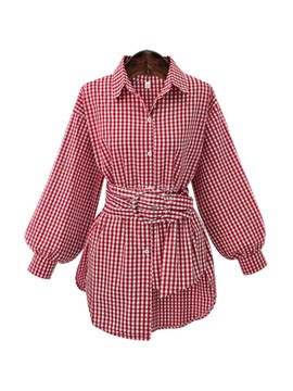Ericdress Lantern Slim Belt Plaid Blouse
