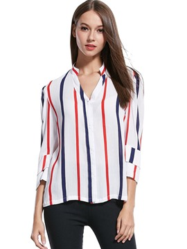 Ericdress V-Neck Stripped Casual Blouse