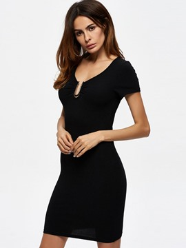 Ericdress V-Neck Solid Color Short Sleeve Little Black Dress
