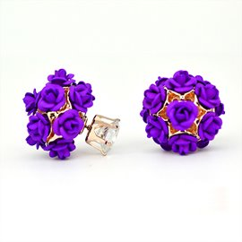 Ericdress Elegant Purple Rose Design Stud Earrings