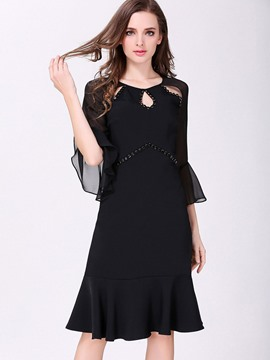 Ericdress Flare Sleeve Falbala Hollow Little Black Dress