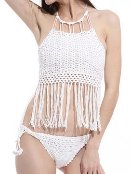 Ericdress White Tassel Knitting Halter Bikini Top