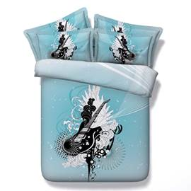 Guitar Printed Cotton 4-Piece Blue 3D Bedding Sets/Duvet Covers