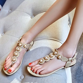 Ericdress Charming Pearl Clip Toe Flat Sandals