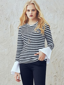 Ericdress Casual Stripped Patchwork T-Shirt