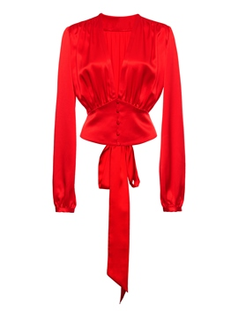 Ericdress Red V-Neck Bow Tie Pleated Crop Blouse